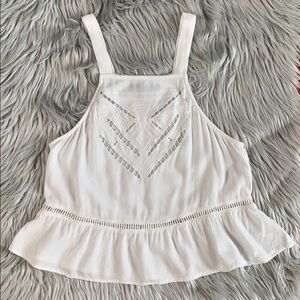 Kendall & Kylie white embroidered crop top tank